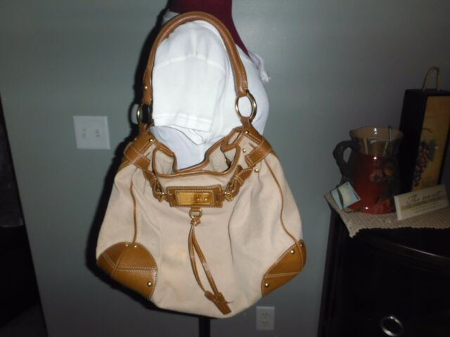 72bd72ac7f3 Original Car Shoe Prada Canvas   Tan Leather Tote Shoulder Satchel Hobo  Handbag