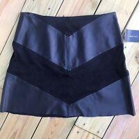 Zara Basic Women's Skirt Large Faux Leather Black Vegan Mini Chevron Stretch