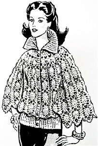 Reproduction 7499 Vintage CAPE//SWEATER Pattern to Crochet Sz 10-16
