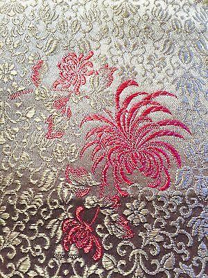 Vintage Fabric Pink White Silk Hong Kong Floral Brocade Mid-Century 1 5/8 Yards