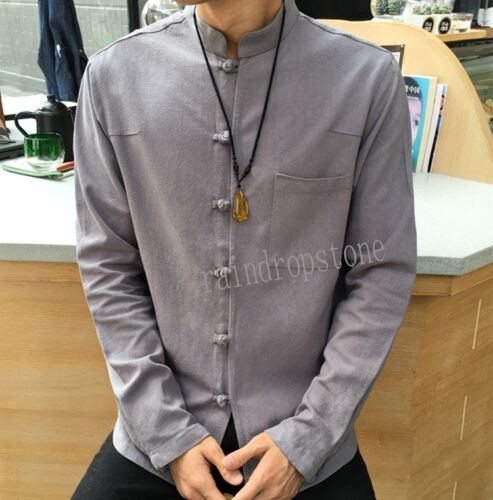 Retro Mens Casual Long Sleeve Loose Stand Collar Cotton Linen Shirts Blouse Tops