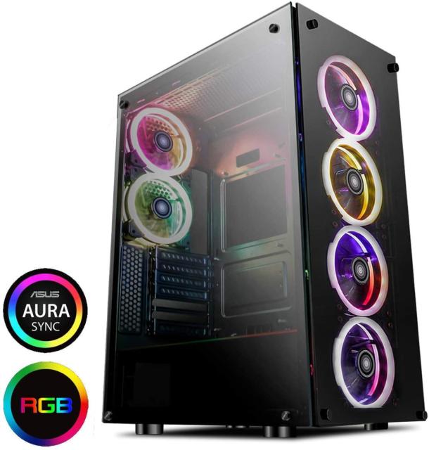 GameMax Predator Full-Tower RGB PC Gaming Case, E-ATX, Full Tempered Glass Side