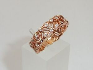 Victorian-Style-Ladies-18-Ct-Rose-Gold-amp-925-Silver-White-Sapphire-Eternity-Ring