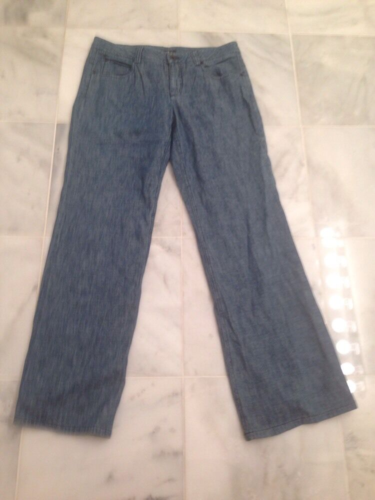 THEORY 100% Cotton Tiadry bluee Wide Leg Boot Cut Jeans Size 6