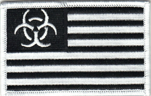 BIO HAZARD BLACK /& WHITE FLAG  Iron On Patch
