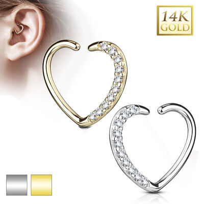 Echt Gold 585 14 Karat Herz Schmuck Ohr Piercing Ring Cartilage Helix Daith Hoop   eBay