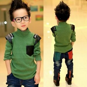 Kids Toddlers Boys Stand Collar Imitation Leather Tops Sweatshirt 3-8 Y S355