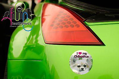 DA 322  - I love  Chihuahua Hund Auto  Autoaufkleber Sticker Hundeaufkleber