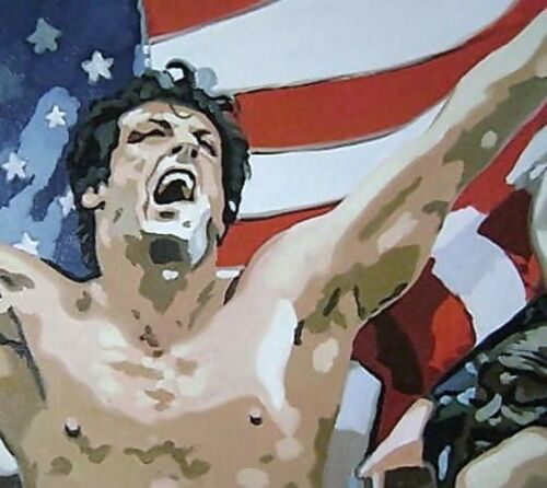 Rocky Balboa USA 40x28 Pop Art Oil Painting,NOT a print or poster,framing avail.