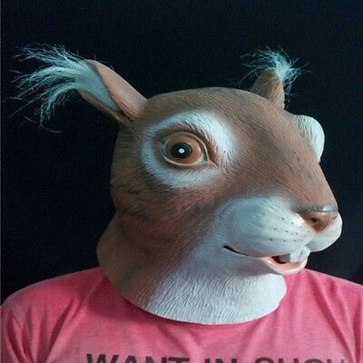 Squirrel Head Mask Latex Cosplay Animal Halloween Party Novelty Costume Prop Toy