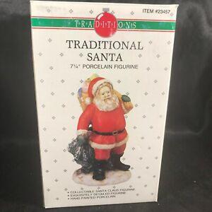 "Vintage Traditions Porcelain 7-1/4"" Traditional Santa Figurine Original Box"