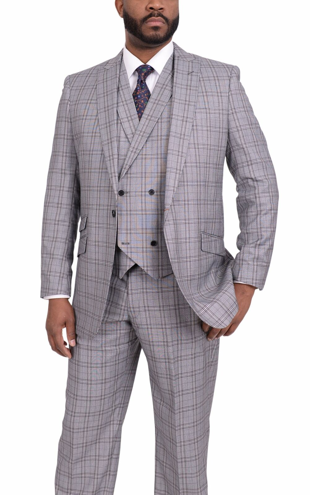 Vitali Classic Fit Charcoal Plaid Plaid Plaid Three Piece One Button Vested Suit Peak Lapels a34