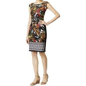New-CONNECTED-APPAREL-Women-039-s-Multi-Matte-Rust-Jersey-Printed-Casual-Dress-14