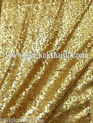 GOLD OVAL STRETCH MESH SEQUIN DANGLE FABRIC GLITTER DANCE WEAR DECOR