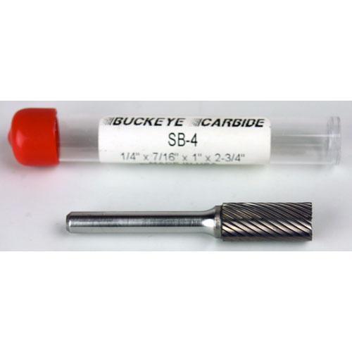 Single Cut 1//4 x 7//16 x 1 x 2 3//4 Cylindrical End Cut Carbide Burr SB-4