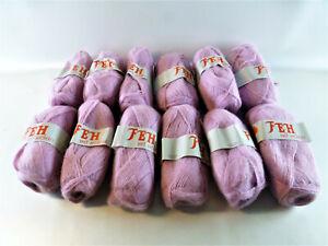 Wolle rosa/flieder 12 x 50 g Zentex, FEH 80 % Polyacryl, 20 % Mohair stricken