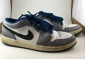 NIKE Air Jordan 1 Low  White True Blue Cement Grey Black  553558 103 SZ 12