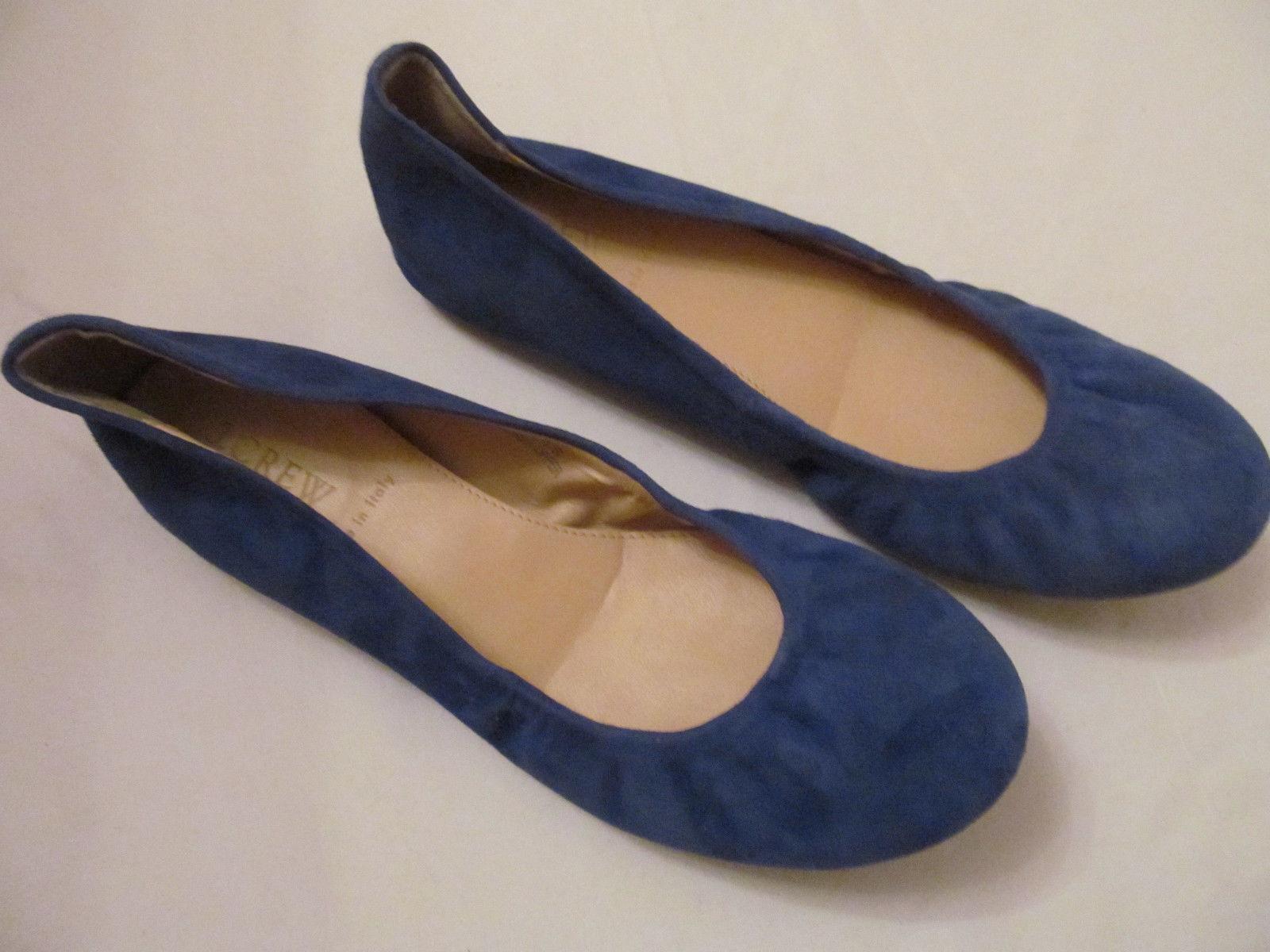 J CREW CECE suede bluee leather ballet flats shoes 6.5 M