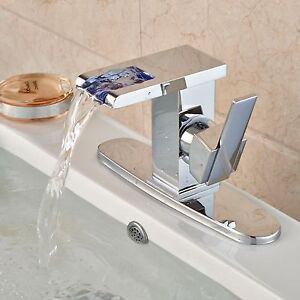 Chrome Bathroom Sink Faucet Led Waterfall Spout With Deck