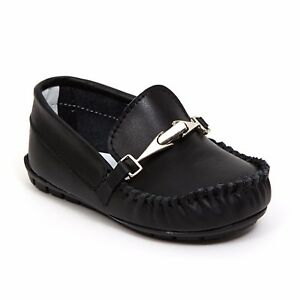 Baby Boy BLACK Leather Loafers Slip on