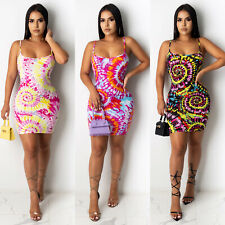 New Stylish Women/'s Spaghetti Strap Lowcut Multicolor Print Bodycon Club Dress
