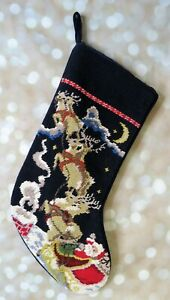 Lands-039-End-Santa-Sleigh-Reindeer-Christmas-Stocking-Needlepoint-Starry-Night