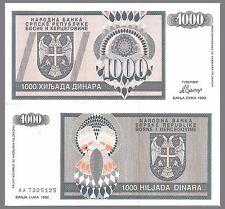 Bosnia-Herzegovina P137a,1000 Dinara, 1992 UNC - Serb Republic