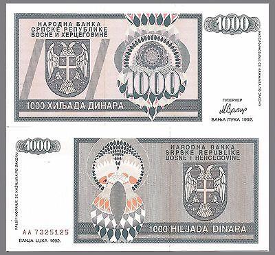 Serb Krajina Republic Bosnia-Herzegovina P137a,1000 Dinara 1992 UNC