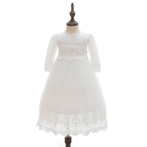 Vintage Baby Baptism Long Dress Floral Embroidery Christening Lace Gown Bonnet