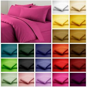 Image Is Loading Plain Fitted Bed Sheets Dyed Colour Single Double