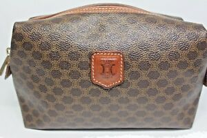 bab4e65fc39f Image is loading CELINE-Macadam-Cosmetic-pouch-Brown-monogram-canvas -Leather-