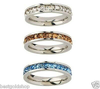 QVC Steel By Design Stainless Steel Set Of 3 Clear Princess Stack Rings 7
