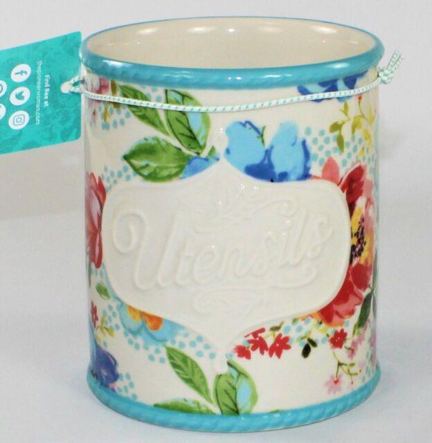 Pioneer Woman Melody Utensil Holder Crock Stoneware Floral For Sale Online Ebay