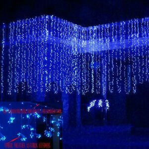 10-3M-1000LED-Icicle-Curtain-Lights-Fairy-String-Wedding-Party-Outdoor-Decor