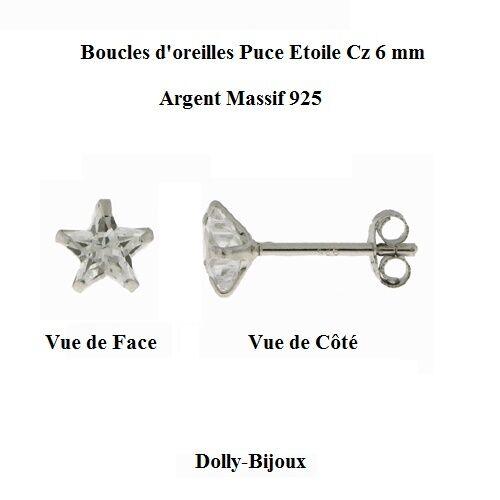 Boucles d/'oreilles Puce Etoile Cz 6 mm Argent Massif 925 De Dolly-Bijoux