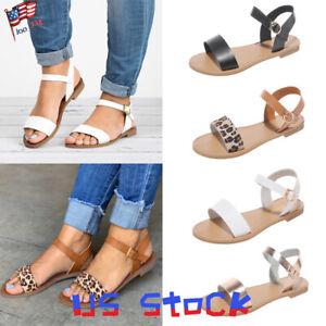 Women-039-s-Sandals-Summer-Buckle-Ankle-Strap-Ladies-Flats-Pumps-Shoes-Leopard-US