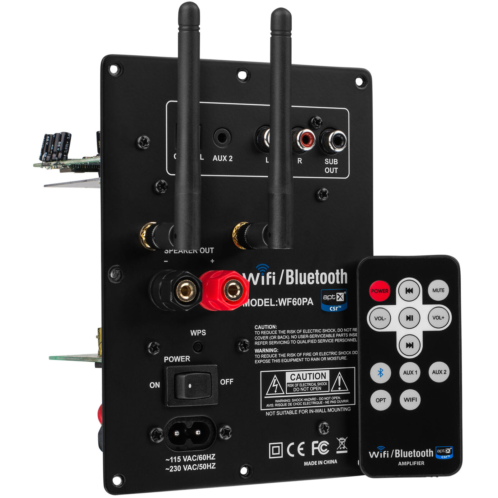 Dayton Audio WF60PA 60W Class D Full Range 2.1 Plate Amplifier with Wi-Fi and Bl