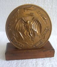 1981 Calendar Bronze Medal HISTORY OF FLIGHT/Wood Display Stand by Marcel Jovine