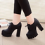 Women-039-s-Platform-High-Chunky-Heels-Pumps-Lace-Up-Casual-Shoes-Boots-PU-Leather thumbnail 7