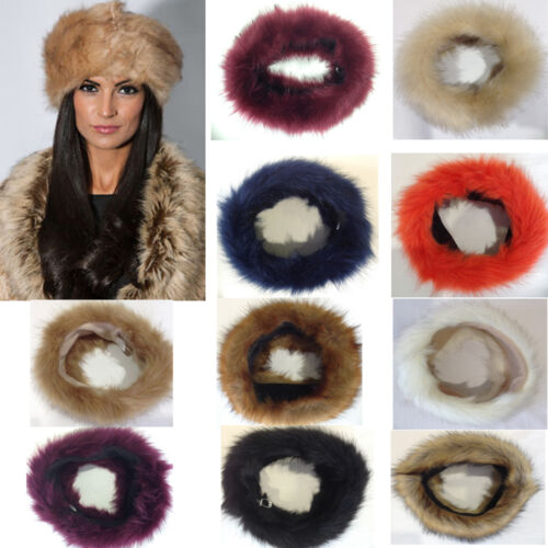 Nouveau femmes urban brume épaisse moelleux en fausse fourrure de renard bandeaux hiver oreille warmer ski