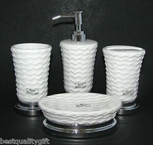 Image Is Loading New 4 Pc Set Hotel White Ceramic Chrome