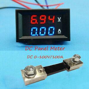 0-100V-100A-DC-Digital-LED-Voltmeter-Ammeter-Amp-Volt-Meter-Current-Shunt-Car