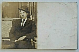 Handsome-Young-Man-034-Mr-Love-034-Sporting-Suit-amp-Hat-Real-Photo-Postcard-RPPC-6424