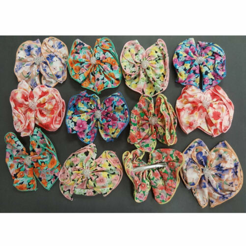 "12 pieces Baby Girl Kids Hair Bow Alligator Clip Boutique Grosgrain Ribbon 5/"""