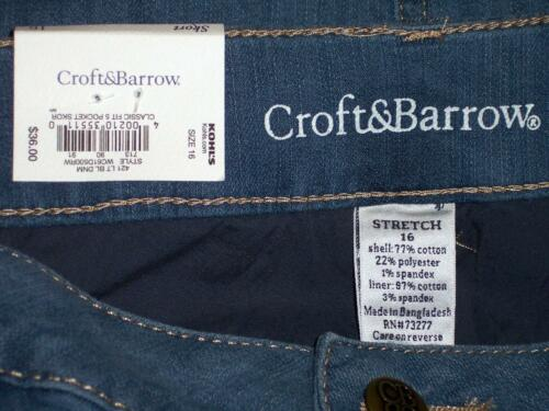 NWT Croft /& Barrow Mid Rise Comfort Waist Stretch Denim Skort 4 8 12 14 16 18