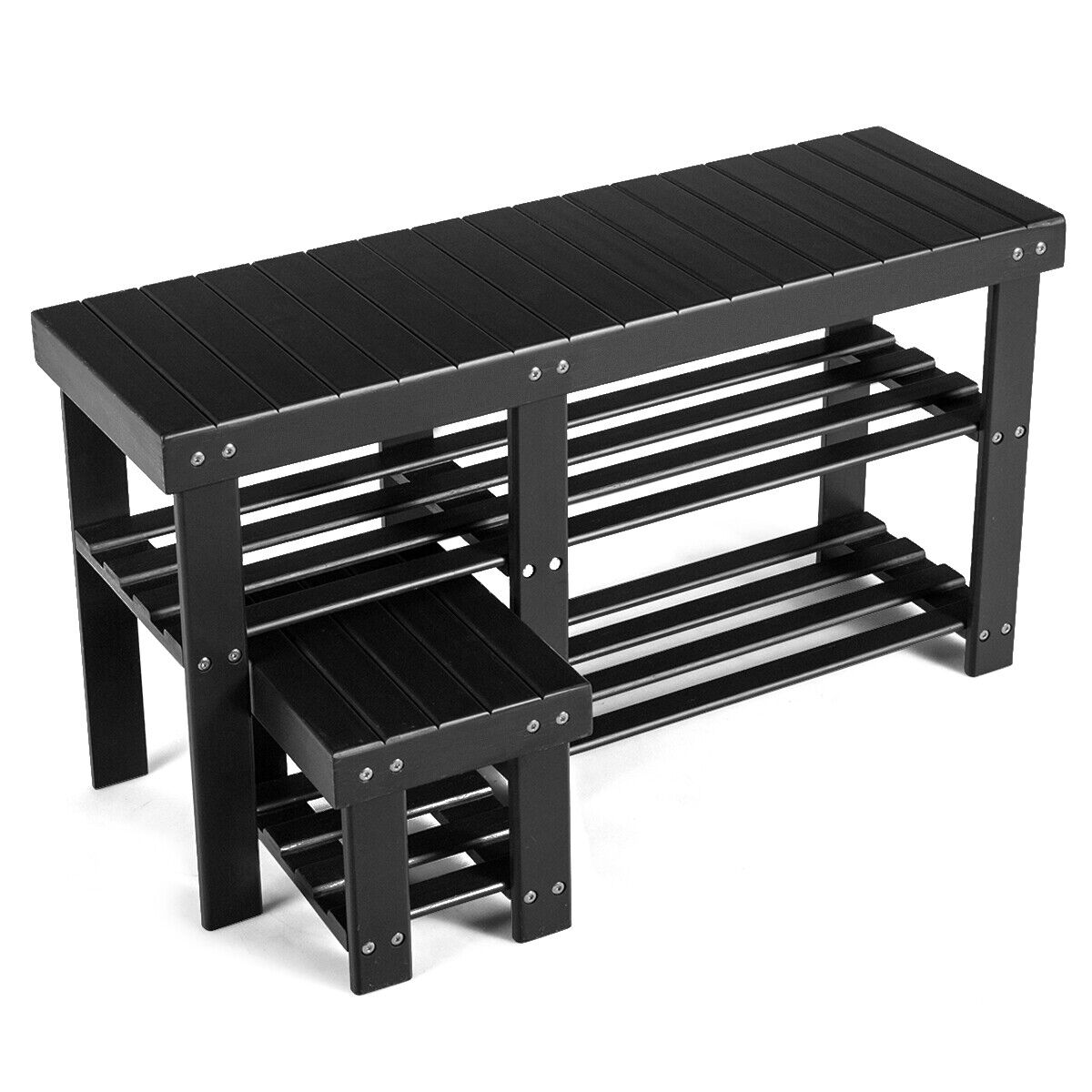 Picture of: Bamboo Shoe Rack Bench With Stool 3 Tier Storage Organizer For Entryway Black For Sale Online