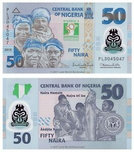 50th Anniv of Independence COMMEMORATIVE NIGERIA 50 NAIRA UNC POLYMER 2010 P-37
