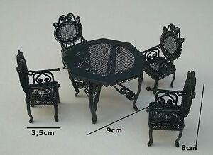 salon de jardin en métal vert, miniature maison de poupée,vitrine ...