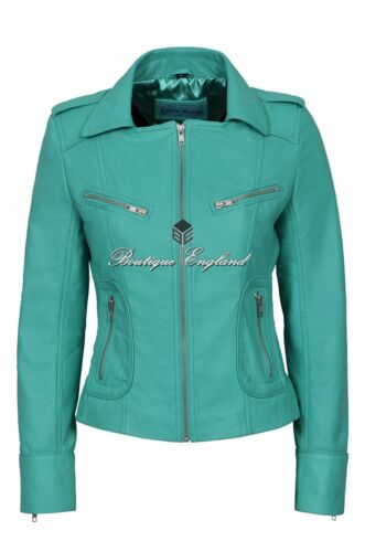 'RIDER' Ladies TURQUOISE Biker Style Genuine Real Nappa Leather Jacket