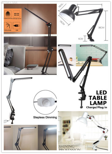 A139 56LED Desk Lamp Architect Task Metal Swing Arm Dimmable Clamp On Light.